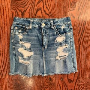 American Eagle Distressed Jean Skirt